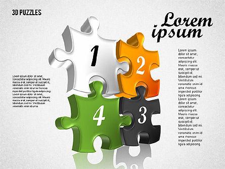 Puzzle Shapes in 3D, Slide 8, 01774, Puzzle Diagrams — PoweredTemplate.com