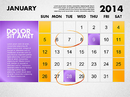 2014 Calendar for PowerPoint Slide 2