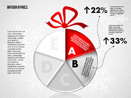Christmas Decoration Pie Chart, Slide 3, 01791, Pie Charts — PoweredTemplate.com