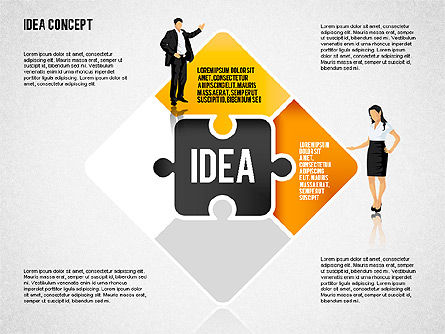 Idea Puzzle Concept with People, Slide 2, 01795, Puzzle Diagrams — PoweredTemplate.com