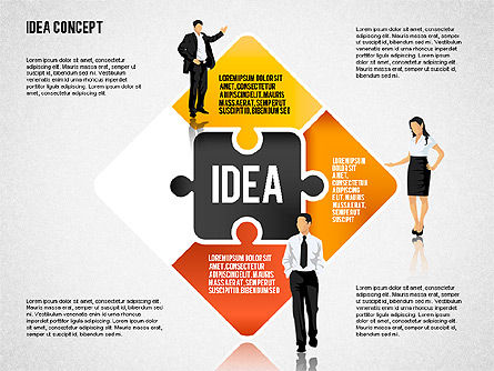 Idea Puzzle Concept with People, Slide 3, 01795, Puzzle Diagrams — PoweredTemplate.com