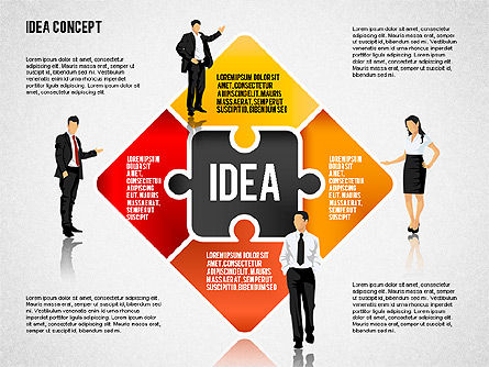 Idea Puzzle Concept with People, Slide 4, 01795, Puzzle Diagrams — PoweredTemplate.com