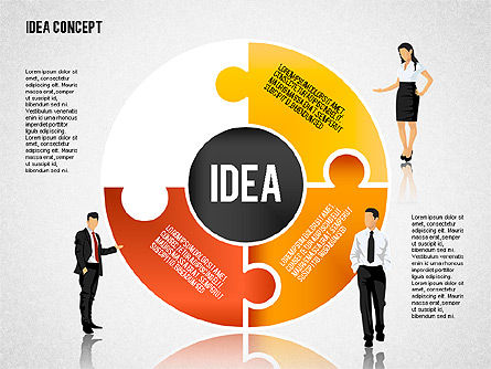 Idea Puzzle Concept with People, Slide 7, 01795, Puzzle Diagrams — PoweredTemplate.com