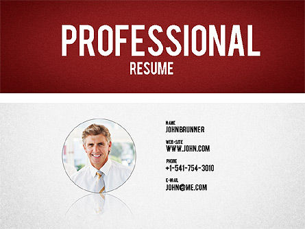 Professional Resume Template, 01833, Presentation Templates — PoweredTemplate.com