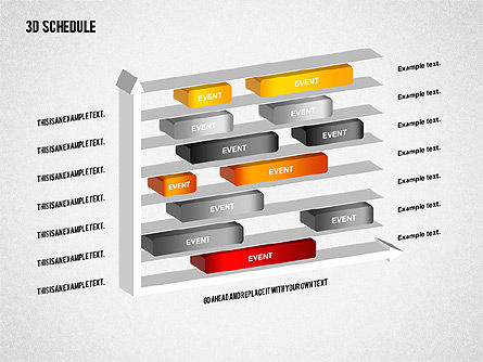 3D Schedule Diagram, Slide 4, 01844, Timelines & Calendars — PoweredTemplate.com