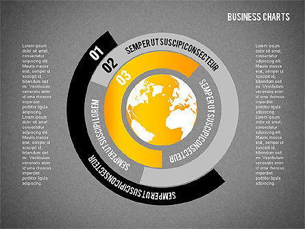 Chart with Globe, Slide 14, 01858, Business Models — PoweredTemplate.com