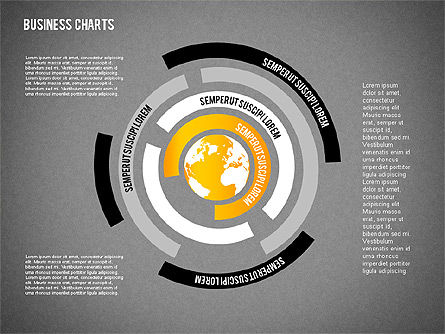 Chart with Globe, Slide 16, 01858, Business Models — PoweredTemplate.com