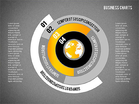 Chart with Globe, Slide 9, 01858, Business Models — PoweredTemplate.com