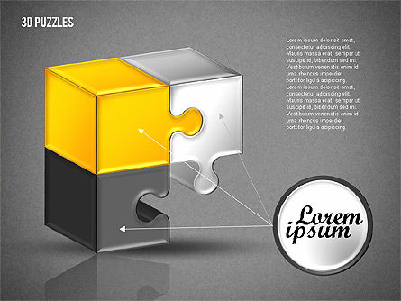 3D Puzzle Set, Slide 10, 01866, Puzzle Diagrams — PoweredTemplate.com