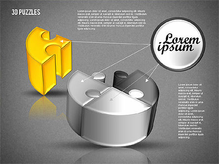 3D Puzzle Set, Slide 15, 01866, Puzzle Diagrams — PoweredTemplate.com
