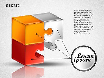 3D Puzzle Set, Slide 2, 01866, Puzzle Diagrams — PoweredTemplate.com