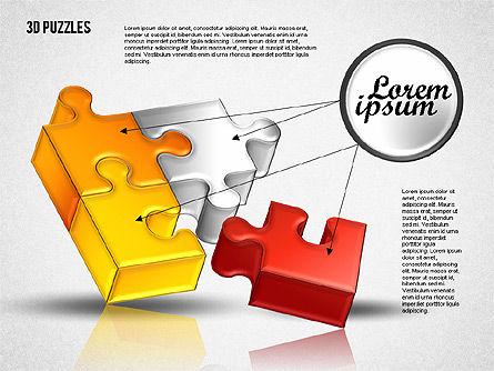 3D Puzzle Set, Slide 3, 01866, Puzzle Diagrams — PoweredTemplate.com