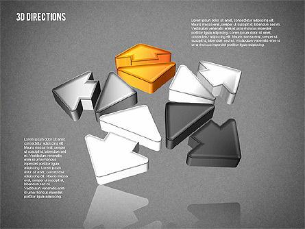 Three Dimensional Arrows, Slide 16, 01881, Shapes — PoweredTemplate.com