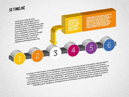 3D Process Timeline, Slide 3, 01922, Timelines & Calendars — PoweredTemplate.com