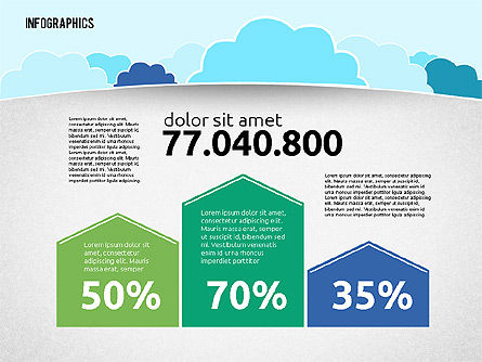 Presentation with Clouds in Flat Design, 01968, Presentation Templates — PoweredTemplate.com