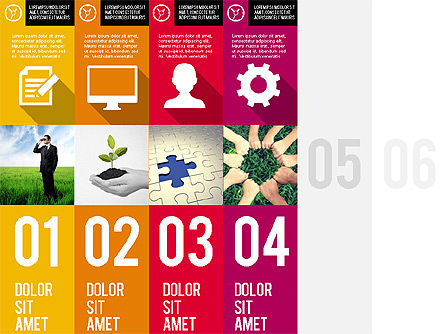 Stages with Photos and Icons, Slide 4, 01971, Stage Diagrams — PoweredTemplate.com