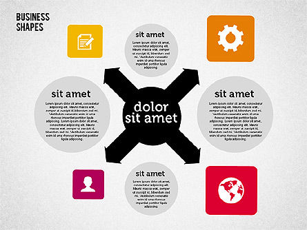 Process Shapes Collection in Flat Design, Slide 3, 01976, Process Diagrams — PoweredTemplate.com