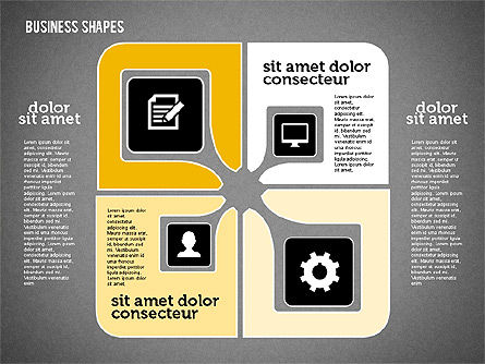 Process Shapes Collection in Flat Design, Slide 9, 01976, Process Diagrams — PoweredTemplate.com