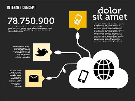 Social Networking Diagram in Flat Design, Slide 15, 01977, Business Models — PoweredTemplate.com