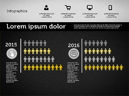 Presentation with Inforgraphics in Flat Design, Slide 15, 01982, Presentation Templates — PoweredTemplate.com