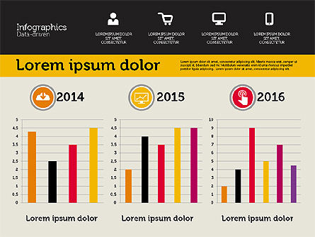 Presentation with Inforgraphics in Flat Design, Slide 6, 01982, Presentation Templates — PoweredTemplate.com