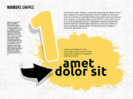 Colored Paint Blotches with Numbers, 01994, Shapes — PoweredTemplate.com