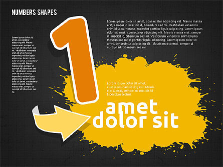Colored Paint Blotches with Numbers, Slide 11, 01994, Shapes — PoweredTemplate.com