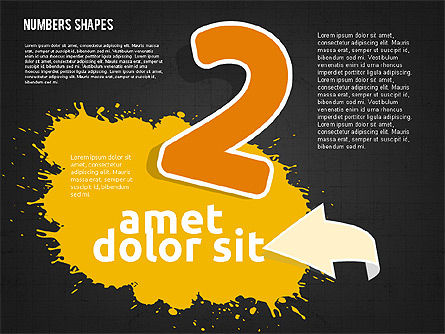 Colored Paint Blotches with Numbers, Slide 12, 01994, Shapes — PoweredTemplate.com