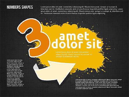 Colored Paint Blotches with Numbers, Slide 13, 01994, Shapes — PoweredTemplate.com