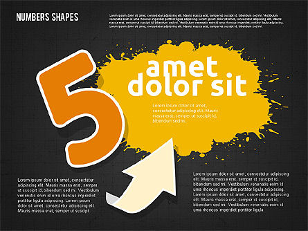 Colored Paint Blotches with Numbers, Slide 15, 01994, Shapes — PoweredTemplate.com