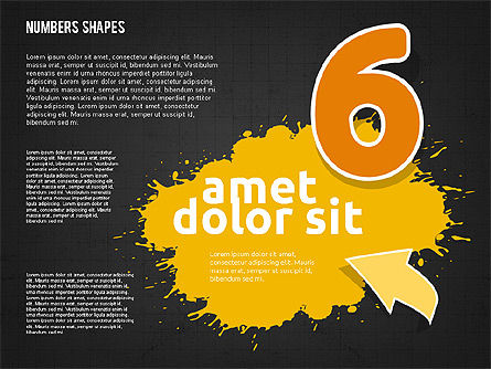 Colored Paint Blotches with Numbers, Slide 16, 01994, Shapes — PoweredTemplate.com