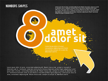 Colored Paint Blotches with Numbers, Slide 18, 01994, Shapes — PoweredTemplate.com