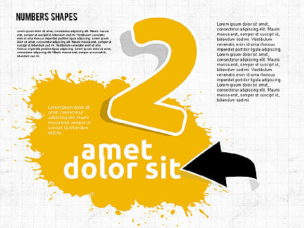 Colored Paint Blotches with Numbers, Slide 2, 01994, Shapes — PoweredTemplate.com
