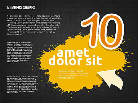 Colored Paint Blotches with Numbers, Slide 20, 01994, Shapes — PoweredTemplate.com
