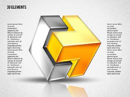 3D Cubes Puzzle Shapes, Slide 2, 02024, Shapes — PoweredTemplate.com