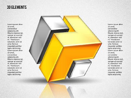 3D Cubes Puzzle Shapes, Slide 3, 02024, Shapes — PoweredTemplate.com