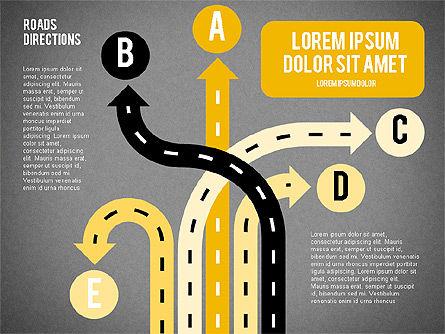 Road Forks Shapes, Slide 16, 02034, Shapes — PoweredTemplate.com