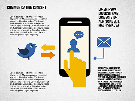 Communication Concept in Flat Design, 02039, Presentation Templates — PoweredTemplate.com