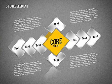 3D Core Element Diagram, Slide 14, 02061, Organizational Charts — PoweredTemplate.com