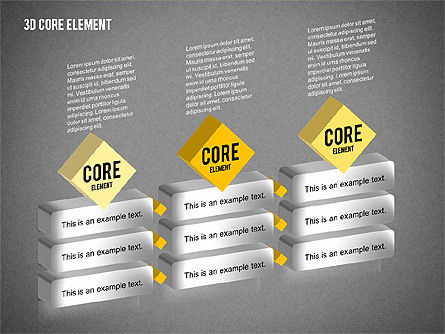 3D Core Element Diagram, Slide 15, 02061, Organizational Charts — PoweredTemplate.com