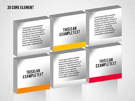 3D Core Element Diagram, Slide 2, 02061, Organizational Charts — PoweredTemplate.com
