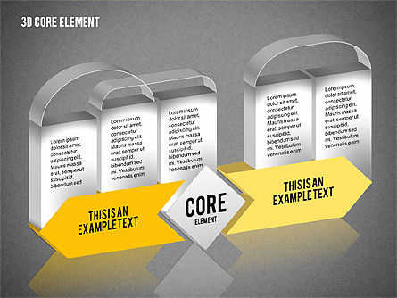 3D Core Element Diagram, Slide 9, 02061, Organizational Charts — PoweredTemplate.com