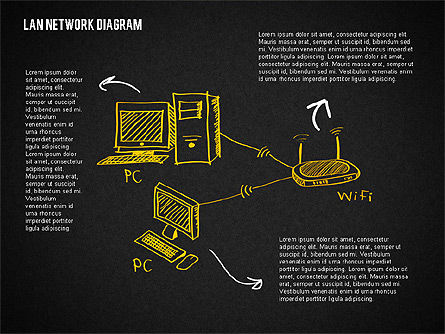 LAN Network Diagram, Slide 10, 02073, Presentation Templates — PoweredTemplate.com