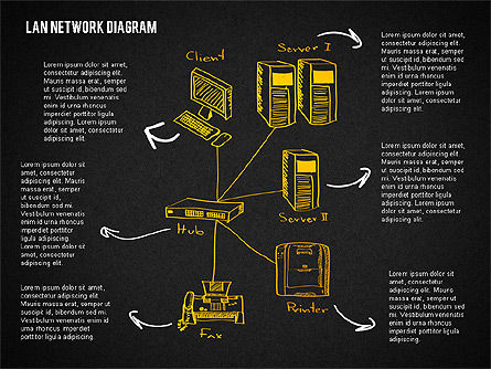 LAN Network Diagram, Slide 14, 02073, Presentation Templates — PoweredTemplate.com