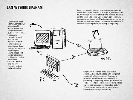 LAN Network Diagram, Slide 2, 02073, Presentation Templates — PoweredTemplate.com
