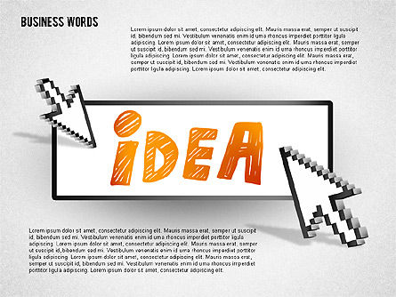 Words on Button with Arrow Cursor , Slide 4, 02079, Shapes — PoweredTemplate.com