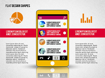 Presentation with Flat Design Shapes and Icons, 02086, Presentation Templates — PoweredTemplate.com