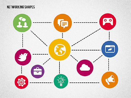 Mind Map with Icons, Slide 2, 02092, Business Models — PoweredTemplate.com