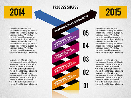Striped Arrows, Slide 2, 02096, Process Diagrams — PoweredTemplate.com