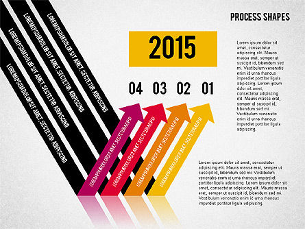 Striped Arrows, Slide 3, 02096, Process Diagrams — PoweredTemplate.com